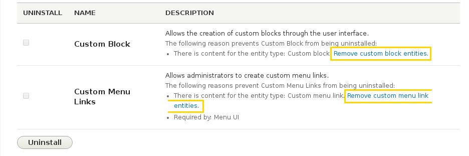 Interface de désinstallation des modules faisant mention de la possibilité de supprimer tous les contenus liés.